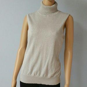 Silver shimmer turtleneck blouse. Size XL